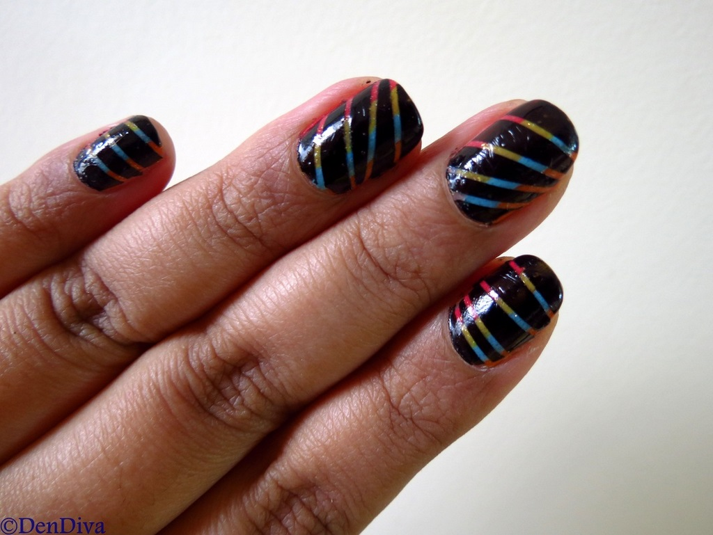 Black Rainbow nails - Black Rainbow Nails – Nail Art Using Striping Tape – DenDiva