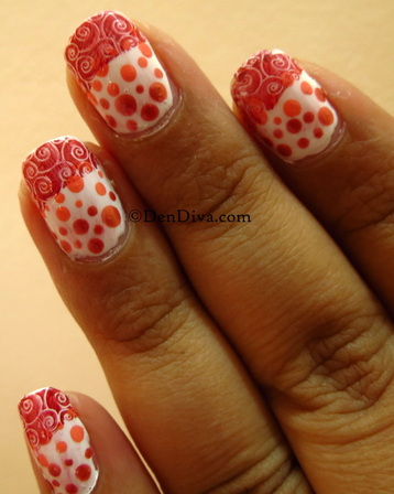 Gradient Polka Dot Nails with Swirl