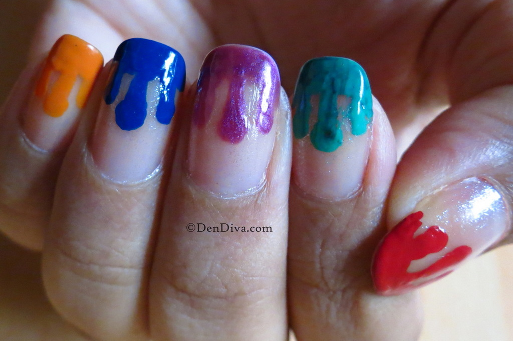 Color dripping nail art