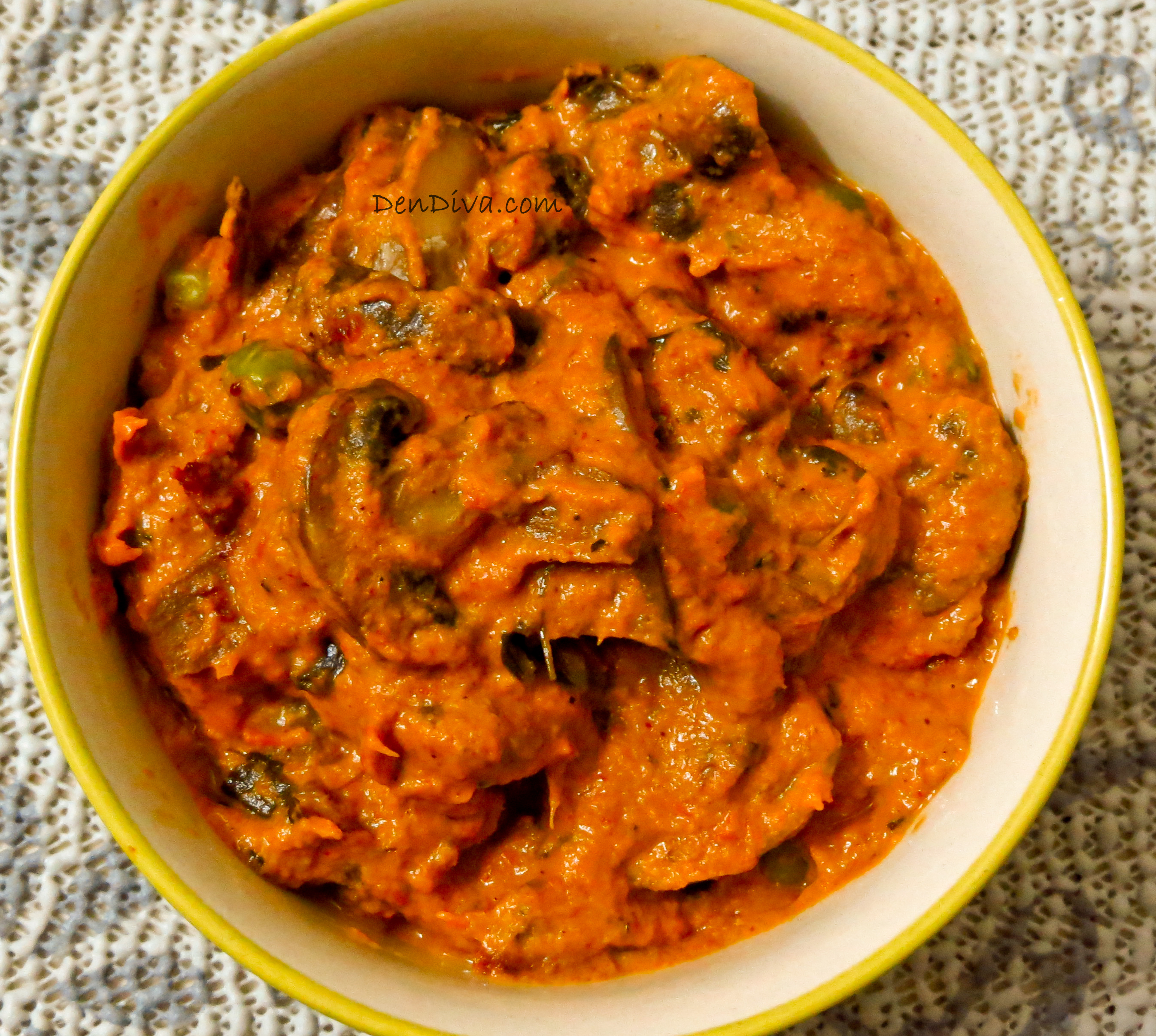 Mushroom Matar Curry Recipe (with step by step pics)