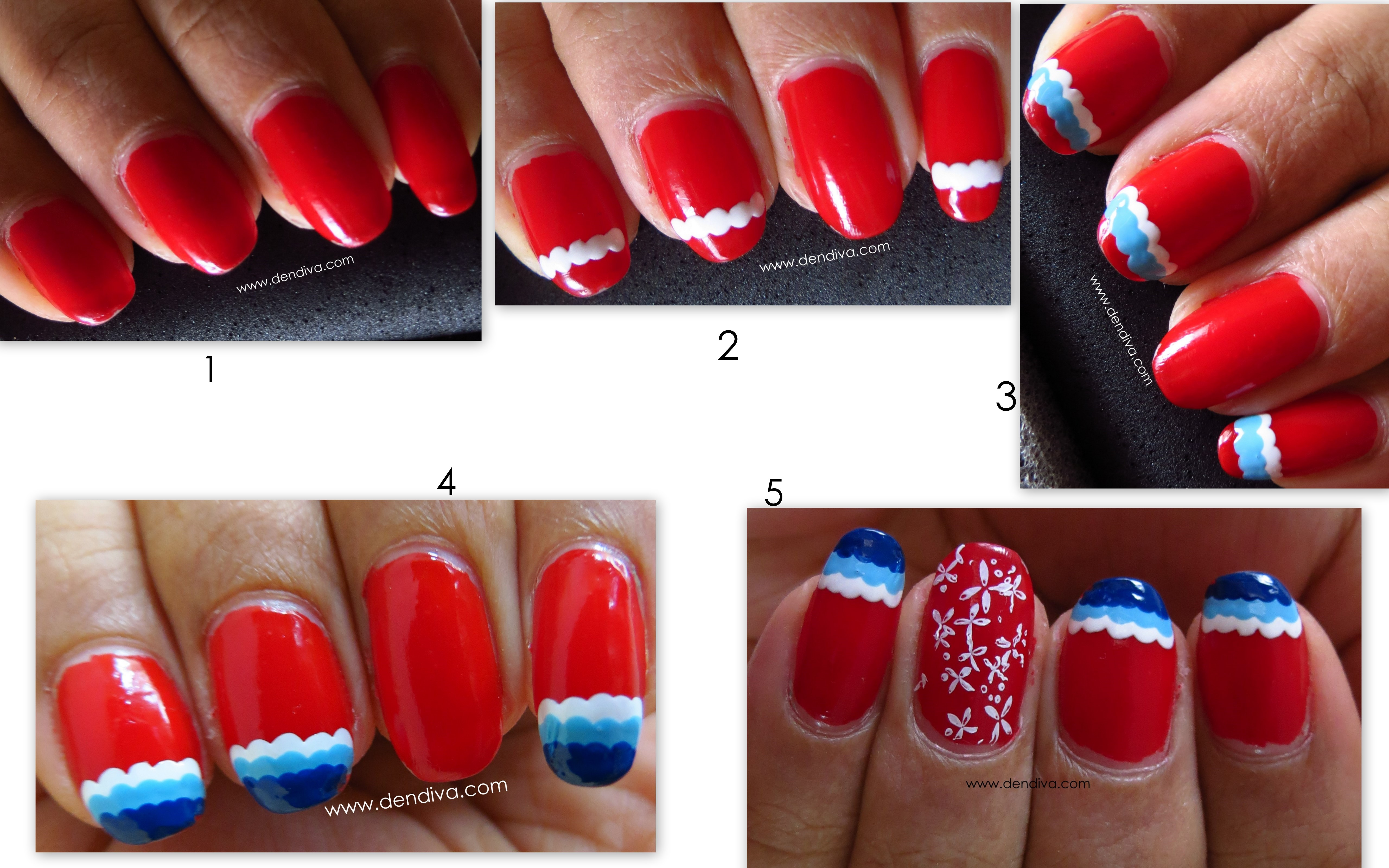 Gradient Wave French Tip Nails Step By Step Pics Tutorial Dendiva