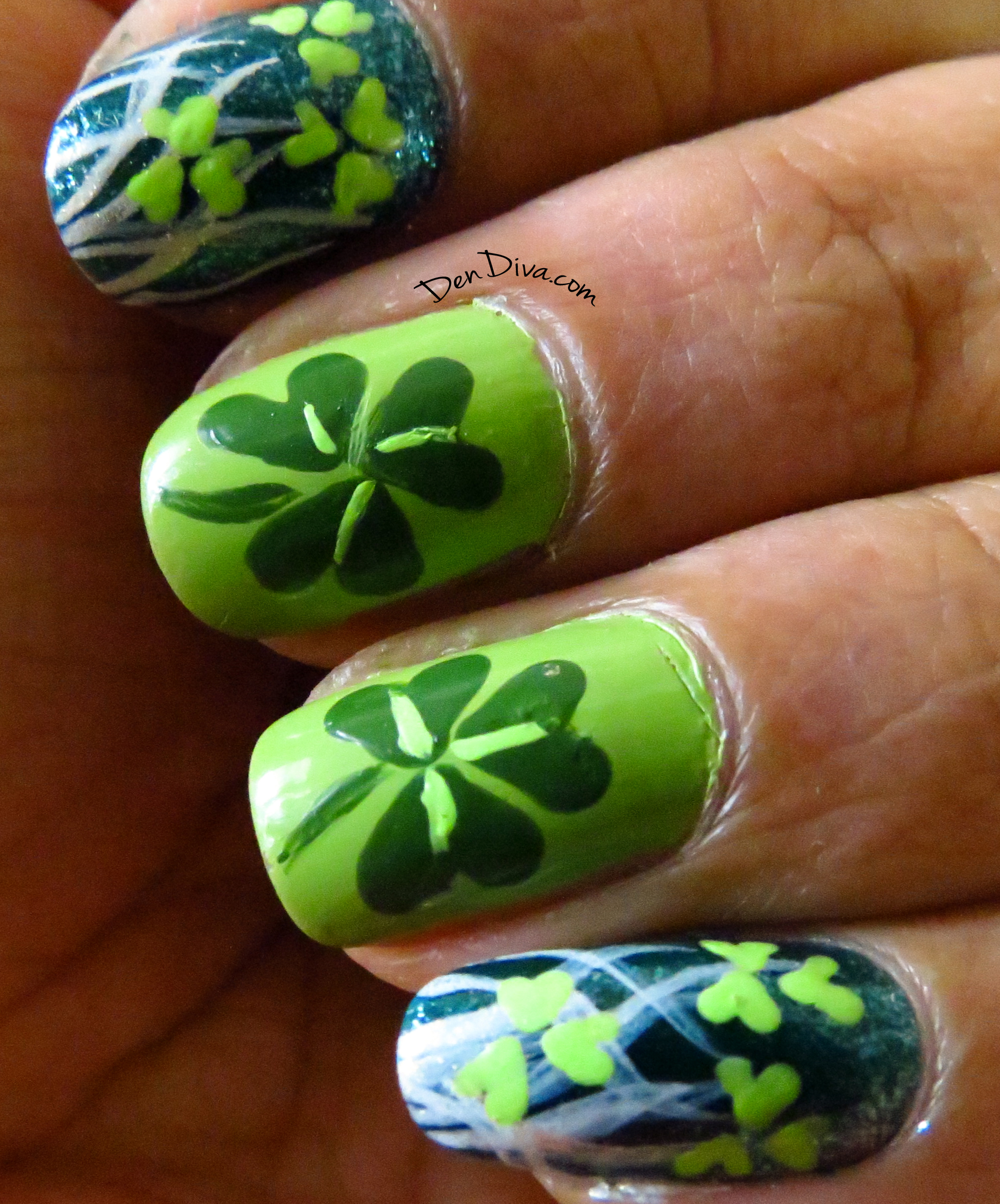 St.Patrick\'s Day Special : Shamrock Nail Art (with Step by step pics ...