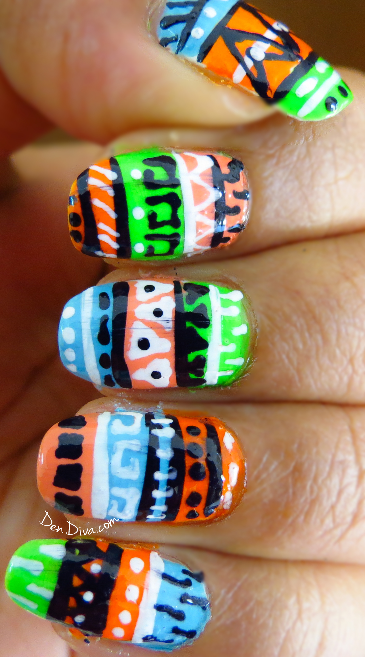 Neon Tribal/Aztec Nail Art (Step by step pics Tutorial) – DenDiva