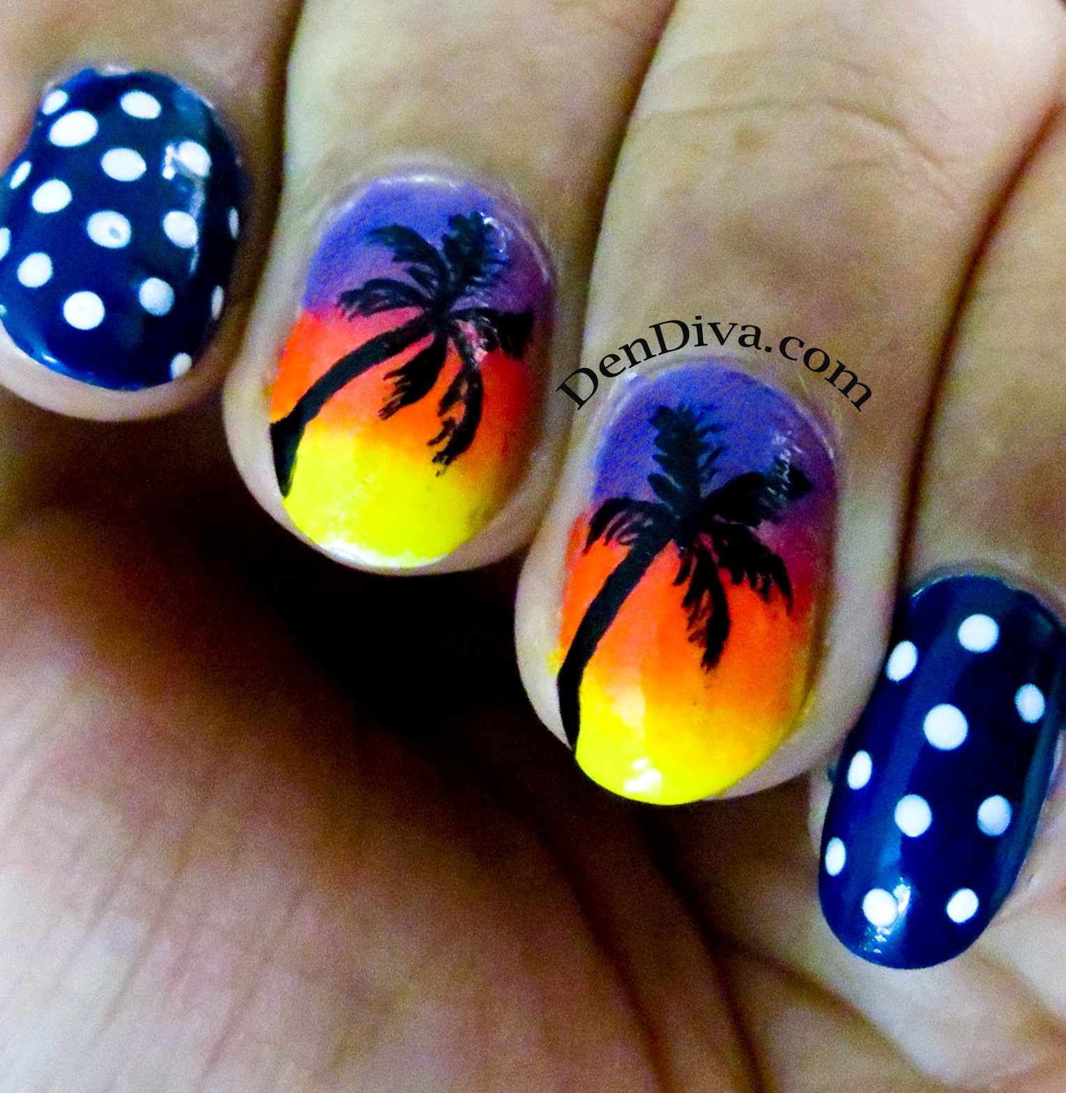 Beach Nail art tutorial – 2 different designs – DenDiva