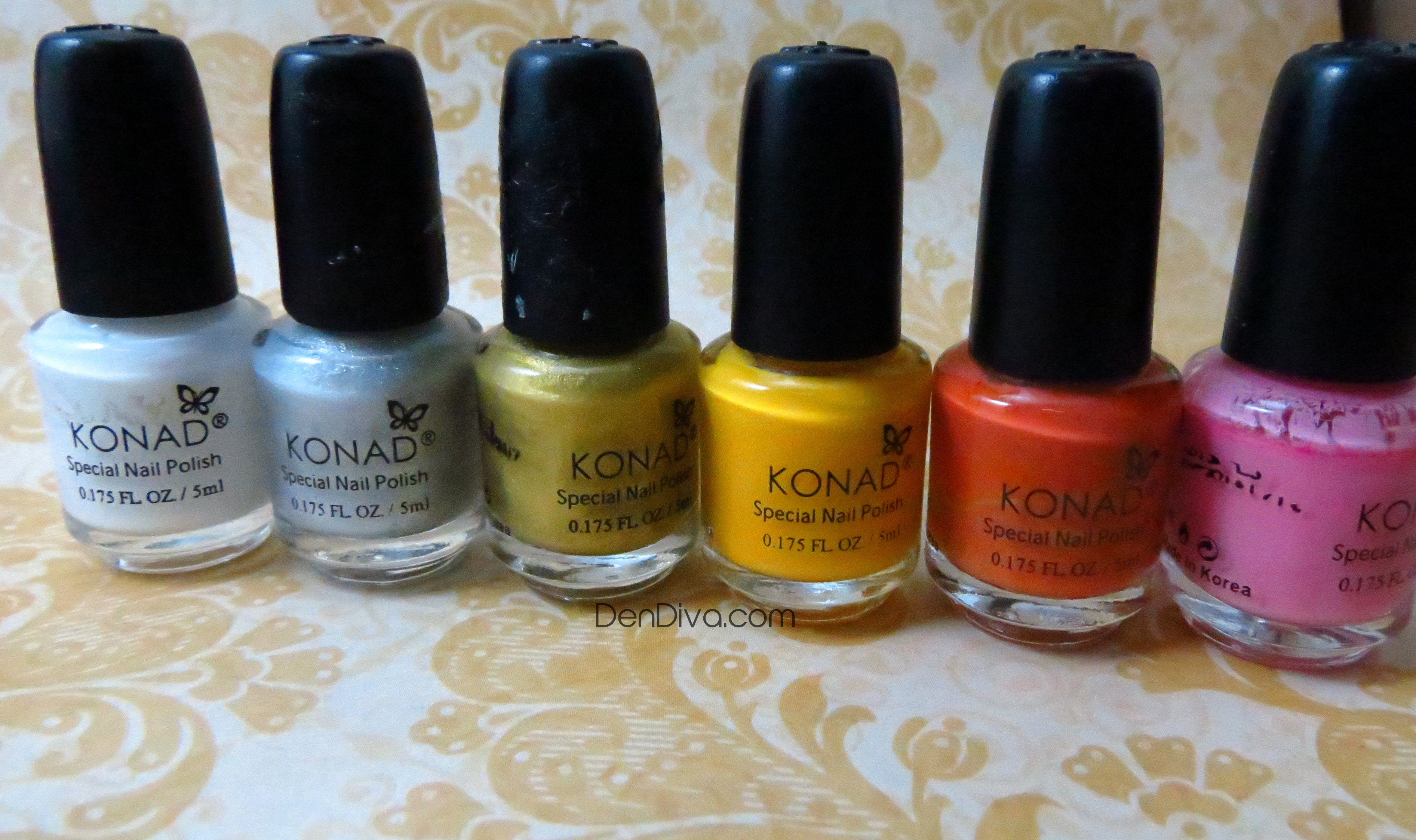 I recently got a bunch of Konad polishes.. so thought to share with you my haul. I previously owned only a Dark Blue and a White Konad stamping polish.