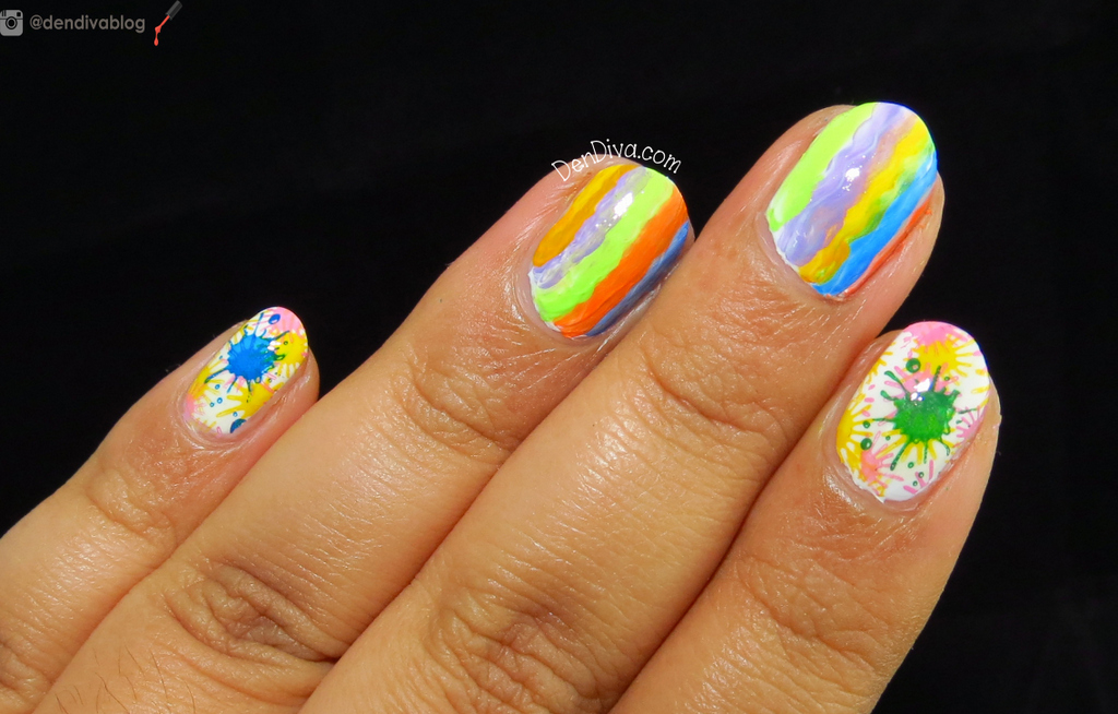 Holi Nail Art Tutorial : 2 cool designs – DenDiva